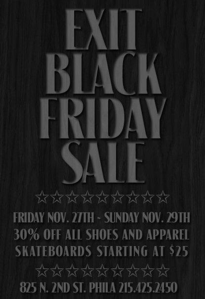 Exit Skateshop's Black Friday Sale