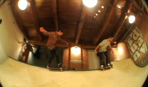 Dan Plunkett and Jake Donnelly Skating the Sunday skateshop mini-ramp