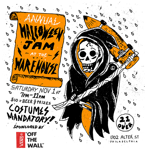 warehouse halloween flyer 2014